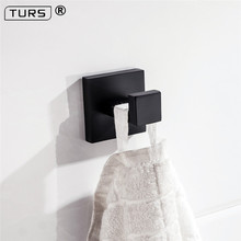 цена на SUS 304 Stainless Steel Robe Hook Black Deluxe Matte Black Towel Hook Wall Mount Square Towel Robe Coat Hat Door Hanger