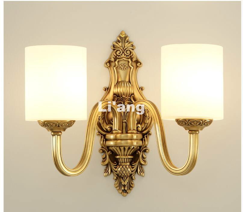 European Brass E14 European Classical Anti Golden LED Brass Wall Lamp Brass Wall Sconce With Glass Shade Brass Wall Lamp Lustre vintage iron pendant light industrial lamps e27 cage pendant lamp hanging lights fixture with glass guard indoor lighting