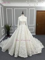Julia Kui Luxurious Vintage Zipper Back Princess A Line Wedding Dress With Beautiful Appliques 1.5M Royal Train