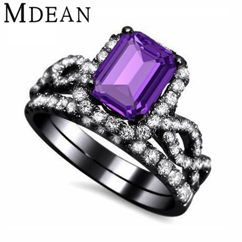 Black Wedding Ring With Purple Diamond Wedding Rings