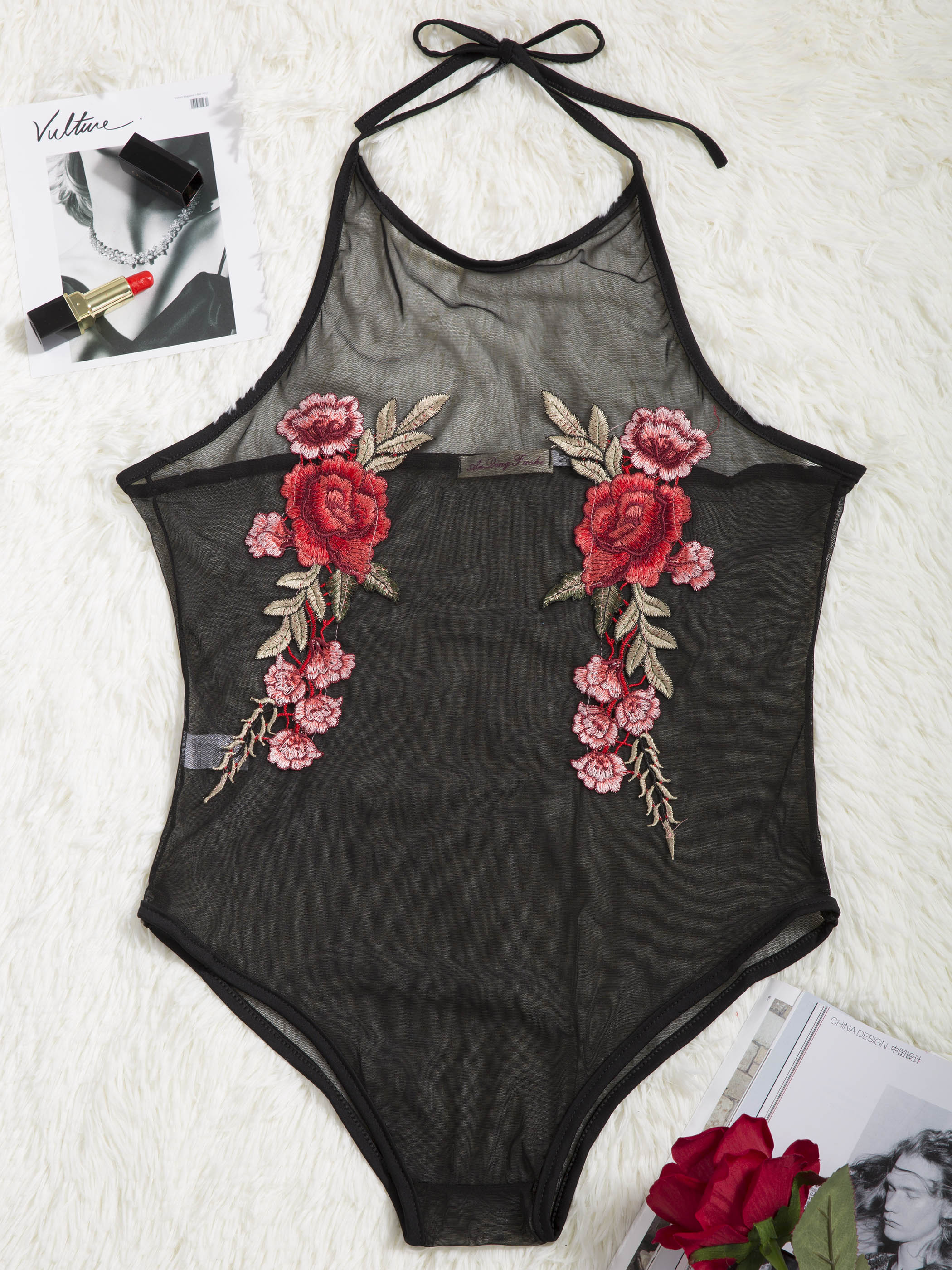 Young 17 Summer Women Embroidery Print Jumpsuit Fashion Halter Sleeveless Floral Slim Sk ...