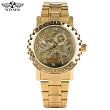 купить Business Automatic Mechanical Watches Stainless Steel Gold Band Watch for Teenagers Skeleton Watch Mechanical for Man по цене 1407.74 рублей