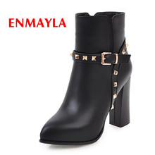 ENMAYLA New Early Spring Warm Flock With Lycra Woman Ankle Boots Square Toe Fashion Zip Bling Ladies Shoes Black Red Female