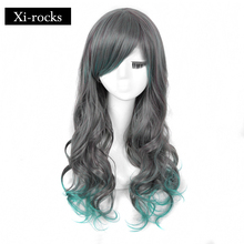 3028 Xi.rocks synthetic wig &26inch Long Curly Wigs Green Mixed Gary High Temperature Fiber Hair with Bangs for Ladys and Grils fashion long curly dark gray wig with bangs for women high temperature 17 inch