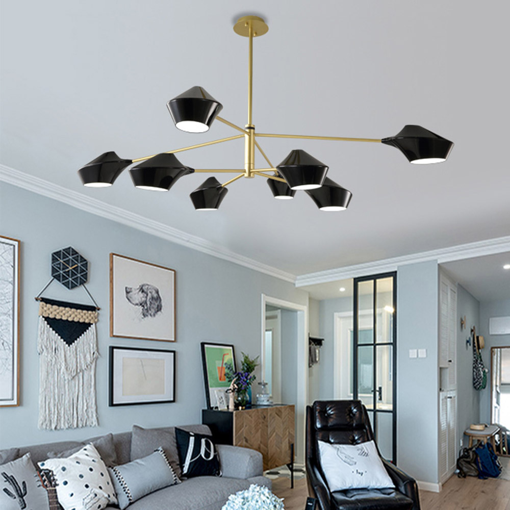 Modern Luxury Designer Black Gold White Long Led Ceiling Suspended Chandelier Light Lamp For Hall Bedroom Corridor Living Room