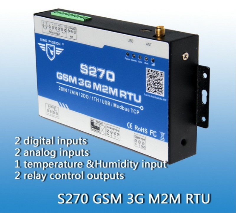 S270 GSM Controller for Remote GSM Control with 2AIN+DIN+Relay Output+ APP GSM Alarm System ...