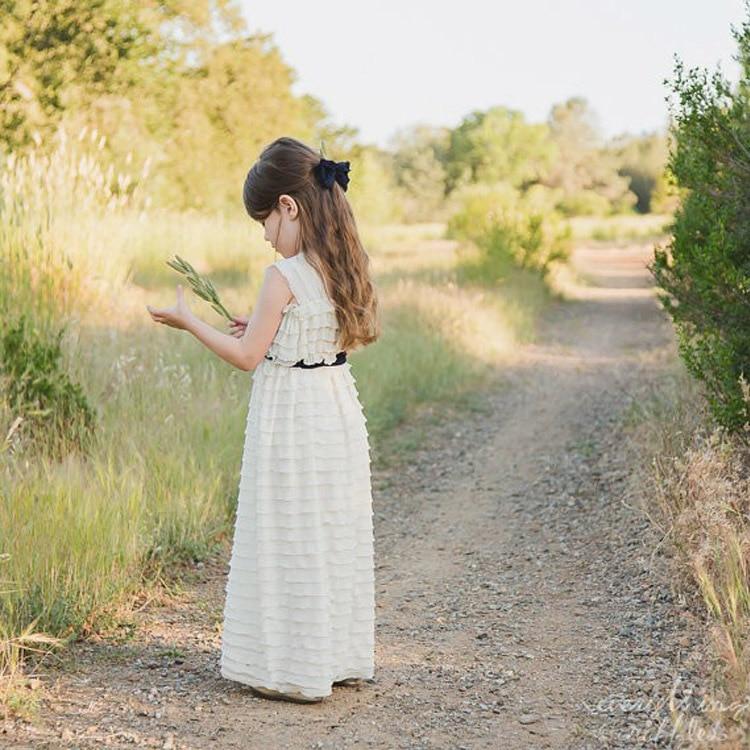ФОТО Vintage Vestido de First Communion Ankle-Length Straight Boho Tiered Soft Chiffon Pageant Flower Girl Dress with Blak Sash 2017