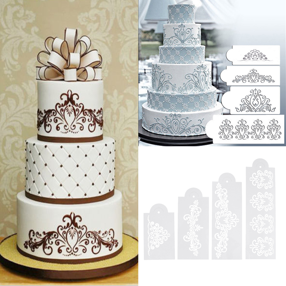 3 Sets Of Cakes Fondant Cake Decor Lace Stencil Mould Border Icing Mold Tool