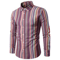 YFFUSHI 2018 New Arrival Men Shirt Long Sleeve Turn Down Collar Striped Shirts Slim Fit Casual
