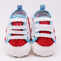 Side Parallel Bars Mesh Stitching Round Lace Shoes Baby Cute Toddler Shoes Baby Shoes Blue 0 18M Newborn Lovely Gifts