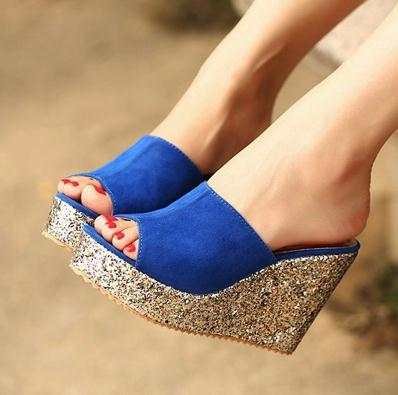 2016 princess wedges slippers platform women's shoes ultra high heels open toe cutout female sandals
