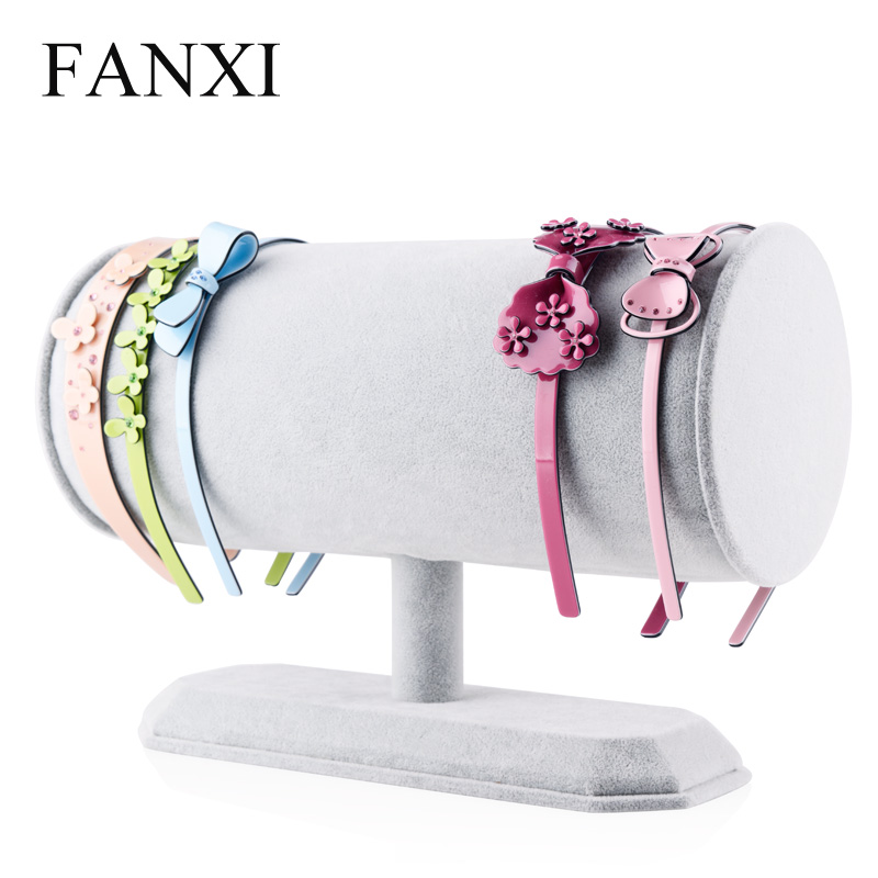 FANXI Romantic Pink Ice Velvet Headbands Display cylinder Design Headbands Holder Rack For Counter Shop Expositor