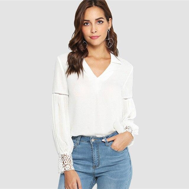 a8690c6bb7234f 2018 Laser Cut Insert Guipure Lace Cuff Blouse White V Neck Long Sleeve Cut  Out Tops Women Autumn Elegant Workwear Shirt