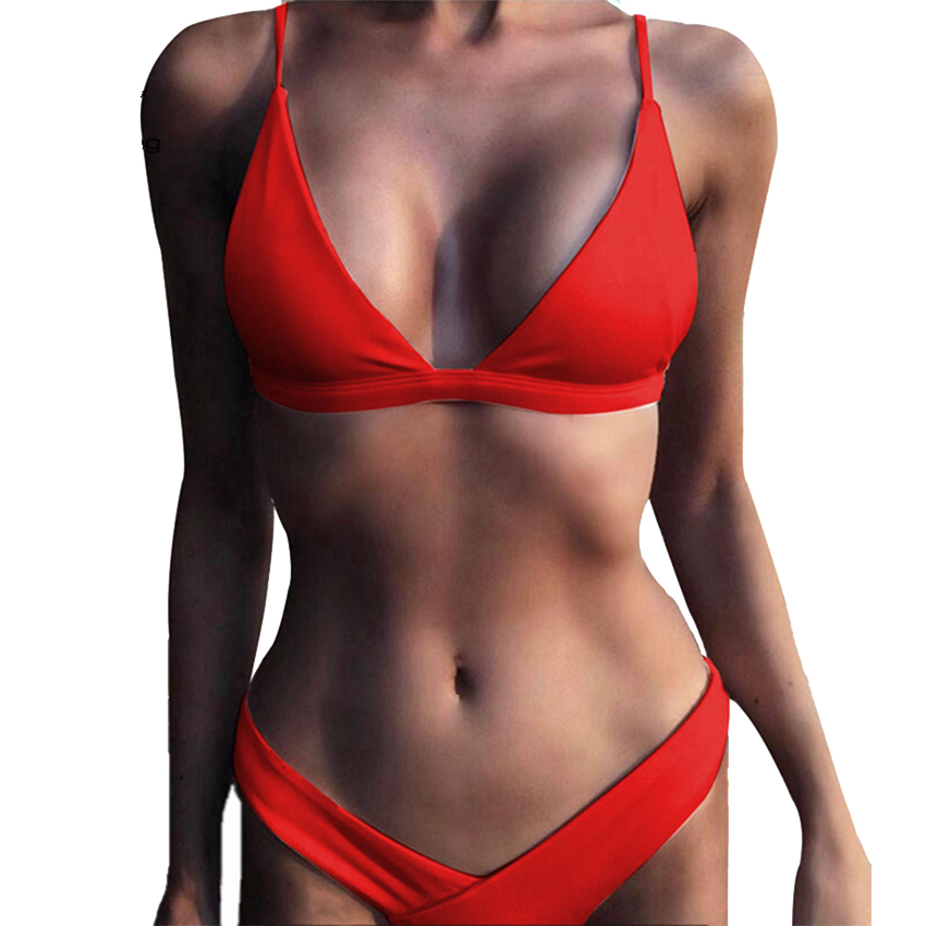 Hot Sexy Bikini 2018 bandeau Swimsuit Thong Swimwear Women Bikinis Push Up Red Bikini Set brazilian Biquini Female Bathing Suit sexy cross brazilian bikini women swimsuit push up swimwear floral cross criss bikini set high neck cropped biquini bathing suit