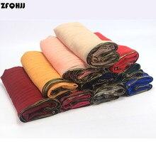 ZFQHJJ 10pcs/lot 110x190cm Women Cotton Wrinkle Plain Muslim Hijab Scarf Oversize Large Long Hijabs Scarves Shawls Head Wraps
