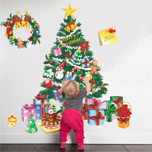 Merry Christmas Tree Bell Festival Gift Wall Stickers Home Decor Living Room Cartoon PVC Decals Art New Year Posters Mural