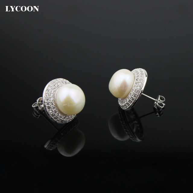 Ly Women Round Pearl Stud Earrings G Setting Cubic Zirconia Earring Silver Plated Fashion Wedding Jewelry