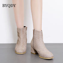 BYQDY New Black Square Toe Ankle Boots Autumn Woman Shoe 2018 Spring High Heels Female Party Short Rubber Sole Ladies