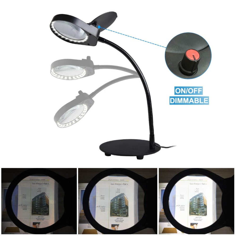 USB Plug Magnifier Clip-on Table Top Desk LED Lamp Reading 5X Lens Magnifying Glass with lamp
