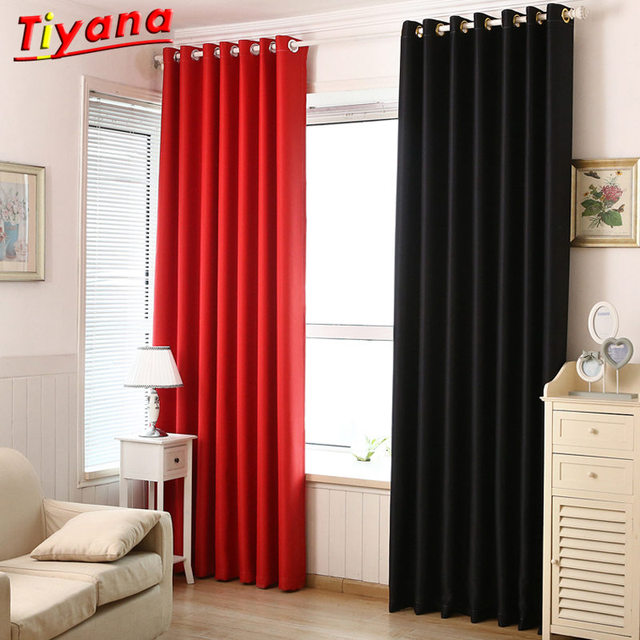 Red Black Polyester Solid Livingroom Curtains Bedroom Window kitchen ...