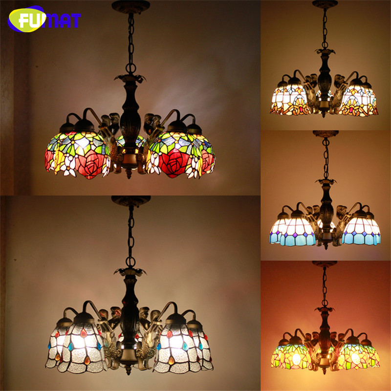Tiffany Pendant Lamp Antique Style Mermaid Body Flower Stained Glass Shade Restaurant Living Room Suspension Lamp Hotel Project