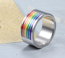 Homosexual Pride Rainbow Lines Rings Chromium Steel