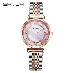 Image 2 - Sanda đồng hồ phụ nữ không thấm nước hoa hồng vàng thép với kim cương mẹ của ngọc trai quay số đầy sao thạch anh người phụ nữ đồng hồ đeo tay relogio feminino