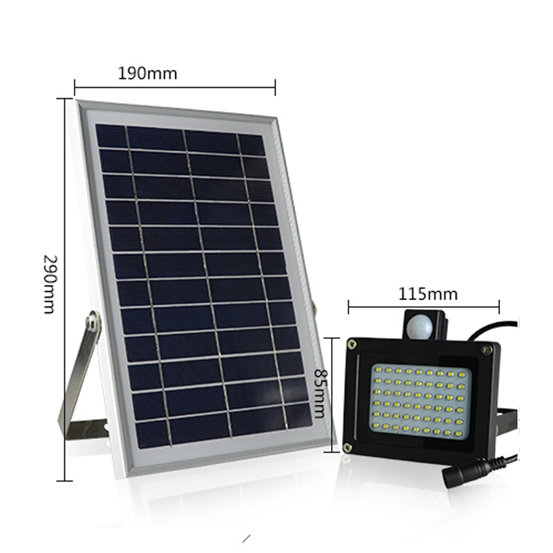 54 led motion seneor solar lights outdoor security floodlight ip65 waterproof flood light for lawn garden