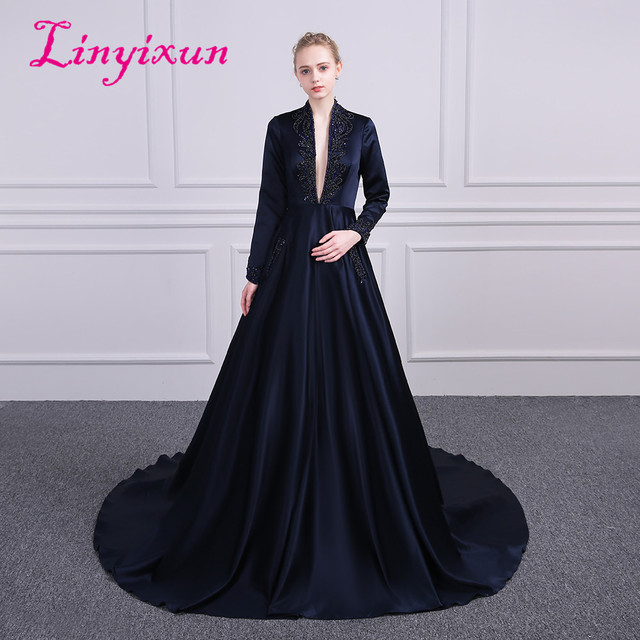 3aeb4e932671 Linyixun Sexy Deep V Neck A Line Prom Dresses 2018 Long Sleeves Sweep Train Beaded  Stain Evening Party Gown Vestido de festa