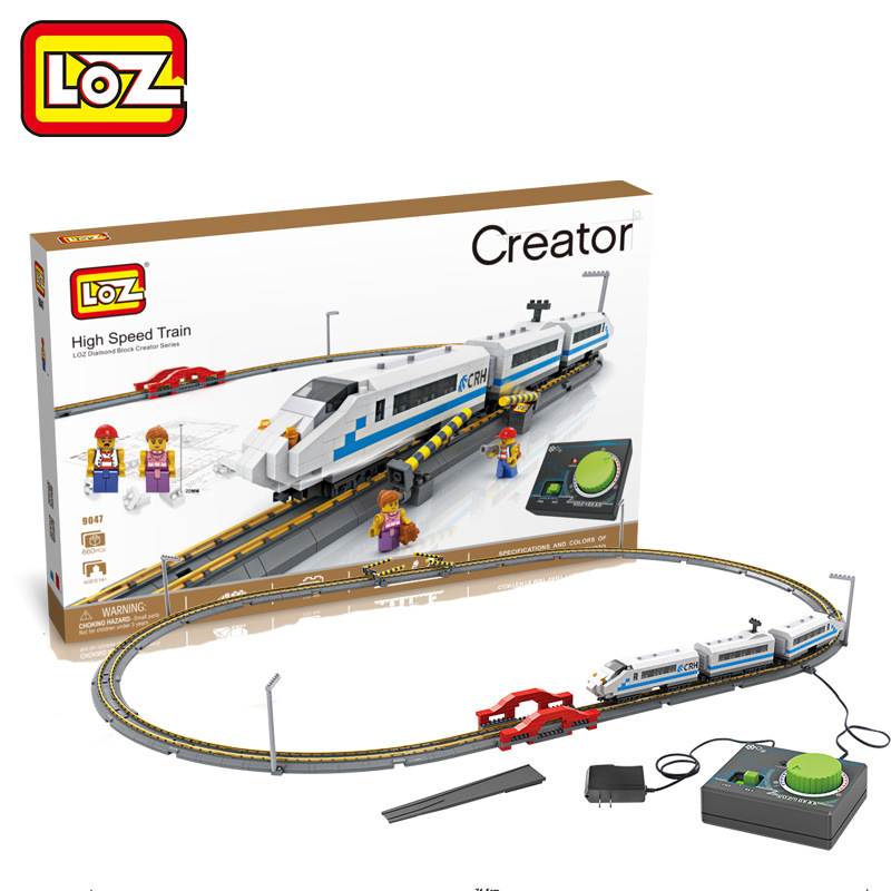 New 9047 Harmony Electric High Speed Train LOZ Diamond Assembled Building Blocks Nano Bricks Toys Children Education Toys loz diamond blocks figuras classic anime figures toys captain football player blocks i block fun toys ideas nano bricks 9548