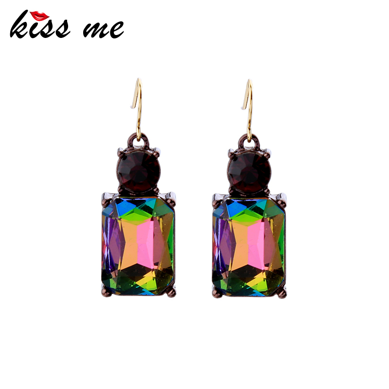 KISS ME New Styles Women 2017 Fashion Jewelry Elegant Glass Square Earrings for Women