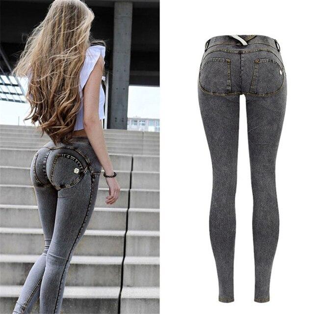 Sexy Low Waist Jeans Woman Peach Push Up Hip Skinny Denim Pant  Boyfriend Jean For Women Elastic Leggings grey Jeans Plus Size 1