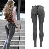 Sexy Niedrigen Taille Jeans Frau Pfirsich Push-Up Hüfte Dünne Denim Hose Boyfriend-Jeans Für Frauen Elastische Leggings grau Jeans plus Größe