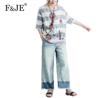 F JE 2017 Summer New Fashion Arts Style Women Loose Casual Short Sleeve Shirt High Quality