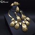 Dubai chapado en oro de joyería de Moda Nupcial conjunto exaggerate Collar Anillo Del Pendiente Del Brazalete de la joyería de la boda perlas Africanas joyería conjunto