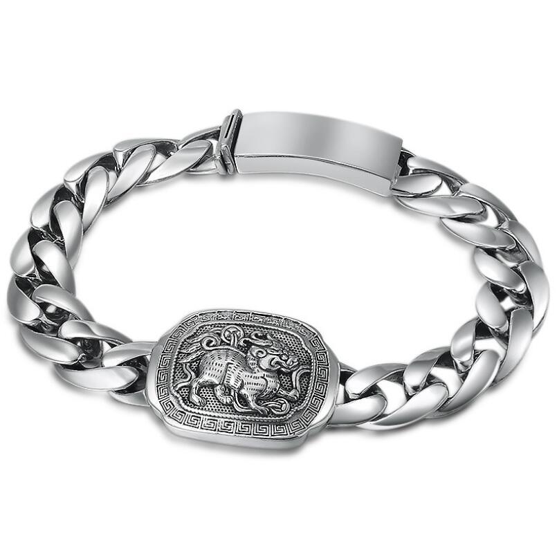 Bracelet homme 925 en argent sterling bouddhiste classique mythique animal sauvage (FGL)Bracelet homme 925 en argent sterling bouddhiste classique mythique animal sauvage (FGL)