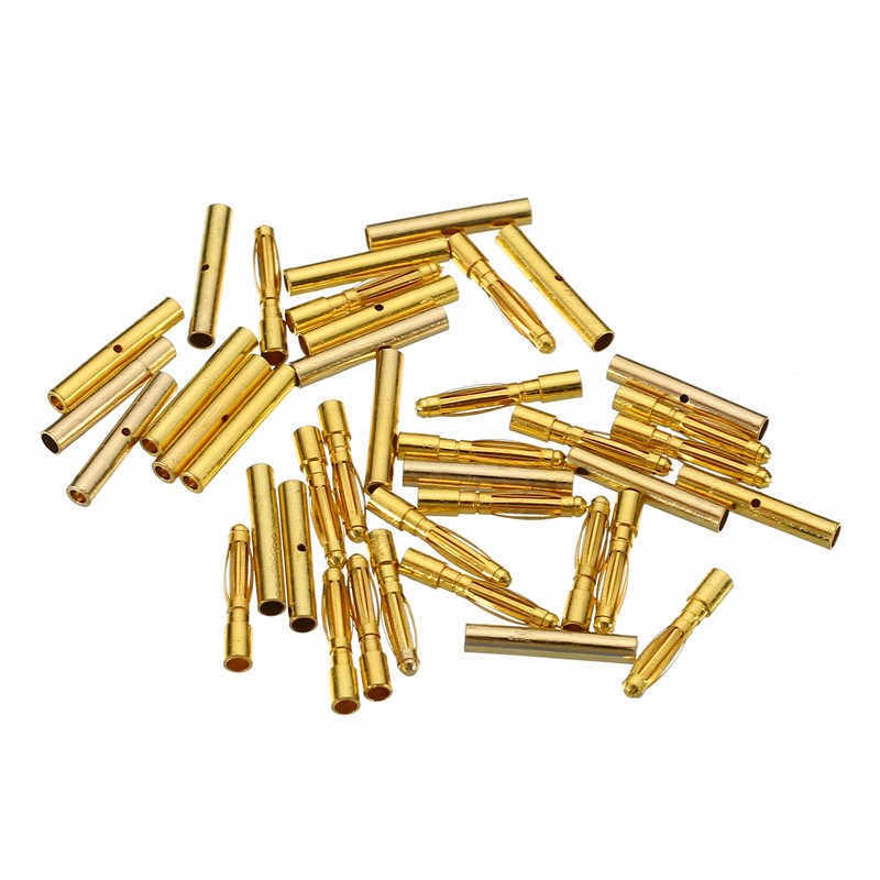 Mayitr 40 шт. 2 мм позолоченный мужской + женский типа Пуля банан разъем наборы для RC батареи ESC