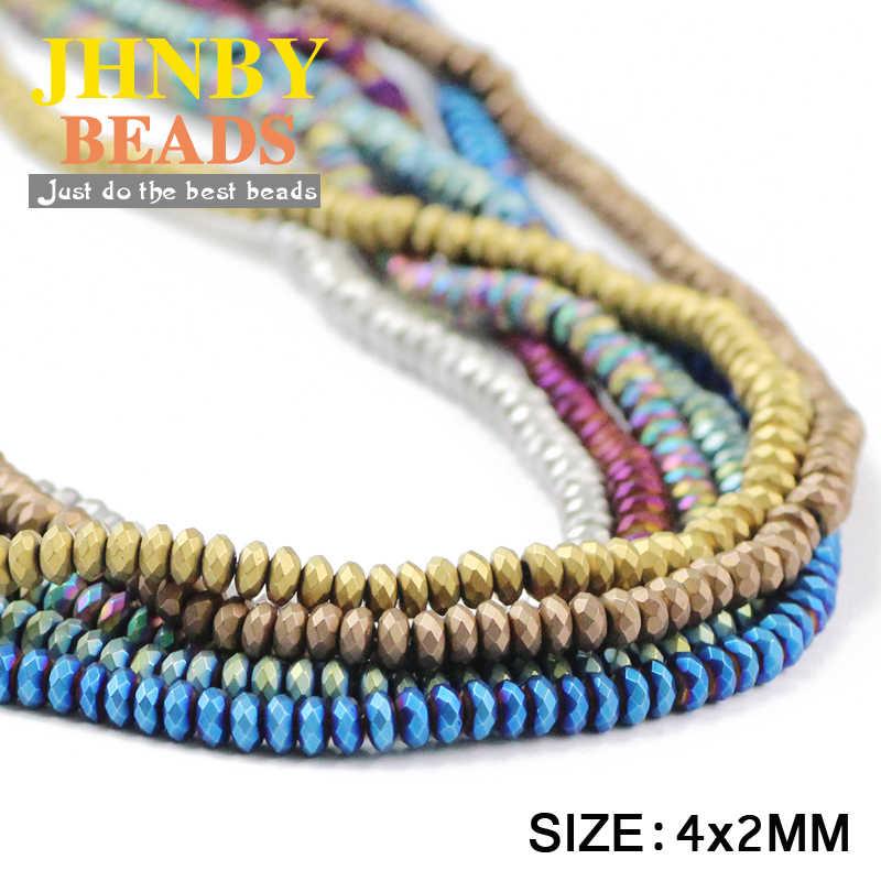 Jhnby Matte Flat Bulat Hematit 4X2 Mm 100 Buah Alami Batu Berlapis Warna Longgar Beads untuk Perhiasan Gelang membuat DIY Aksesoris