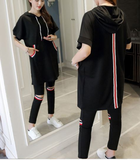 A Casual Suit Hoody Loose Top Pencil Pants Outfit Plus Size Women Hoodies  Slim Trousers 2 Pcs Clothing Set White Black S 4XL 5XL-in Women s Sets from  ... 855e419704d2