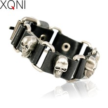 2017 New Fashion Brand Skull Chain Leather Men's Bracelets European style Knighthood Link Charm Bracelets Jewelry.(China)