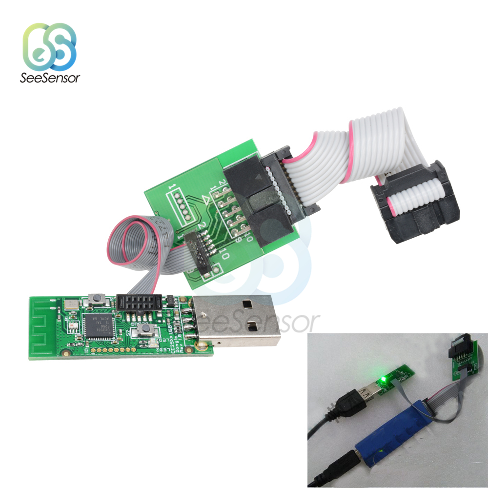 Wireless CC2531 CC2540 Zigbee Sniffer Board Bluetooth BLE 4.0 Dongle Capture Module USB Programmer Downloader Cable Connector