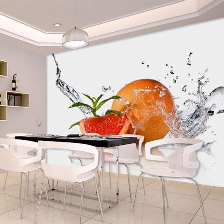 3d Papel Murals Water Drop Fruit Orange 3d Wallpaper Murals For