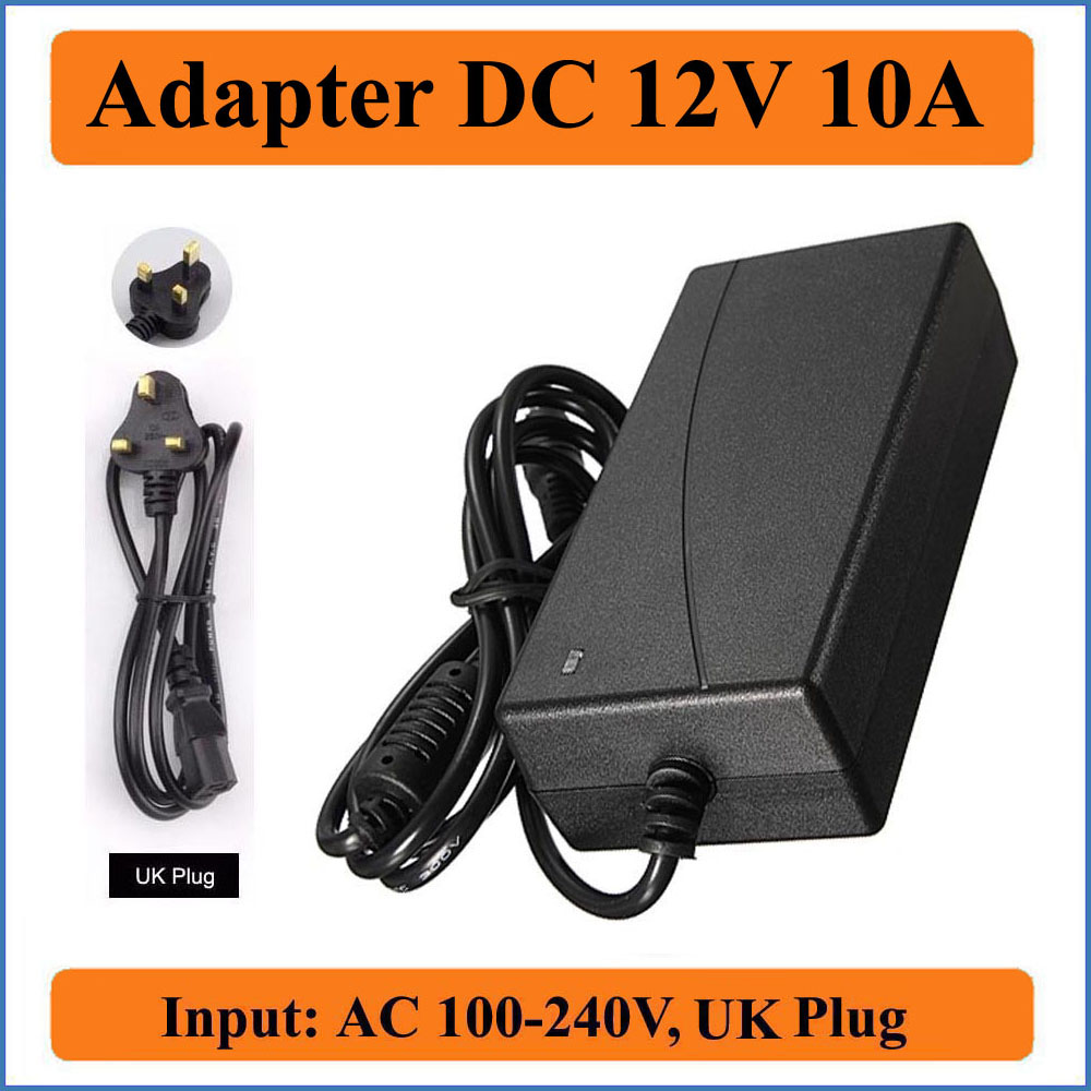 12V 10A UK Plug AC DC Adapter AC100-240V to DC12V Power Supply Charger 5.5mmx2.1mm for LED strip lights/LCD Monitor/CCTV cameras