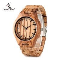 בובו WG22 ציפור עץ שעונים מעץ גברים למעלה איכות מלאה מעצב מותג אופנה זברה שעונים תיבת עץ