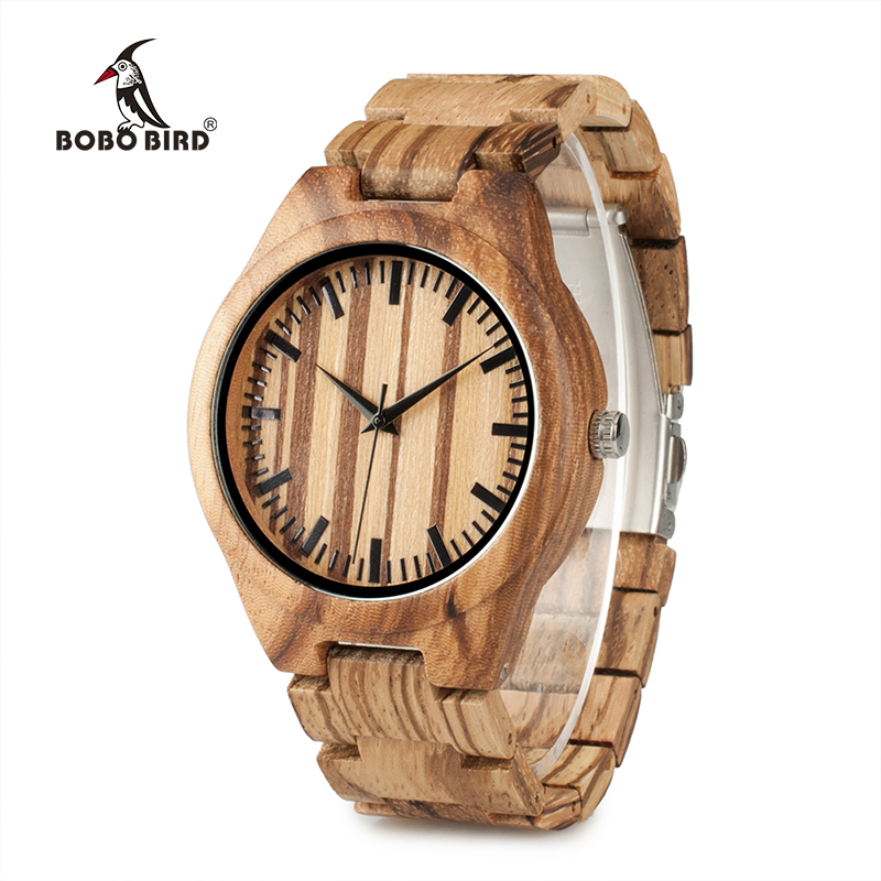 BOBO BIRD WG22 Top Quality Wood Watch For Men Wooden Fashion Brand Designer Full Zebra Watches Wooden Box