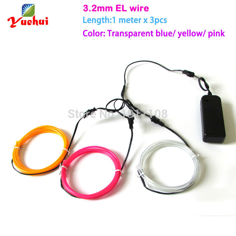 Multicolor 3pieces 1M 3.2mm 360 degrees of illumination el wire Popular neon glowing Strip Light rope For DIY Party Decoration
