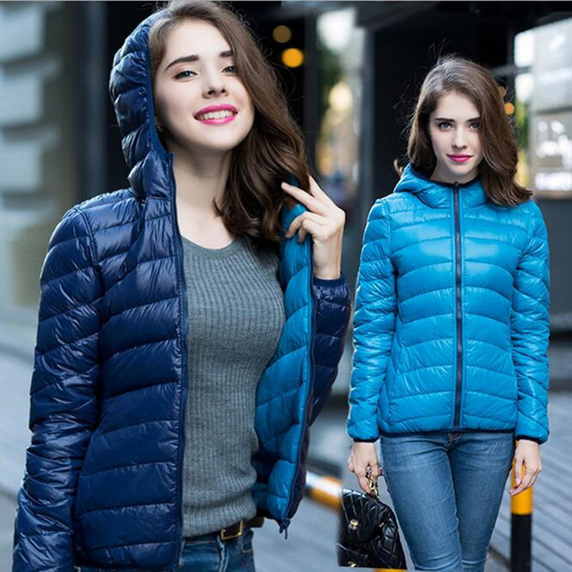 New Spring Winter Two Side Women 90% White Duck Down Jacket Hooded Ultra Light Down Jackets