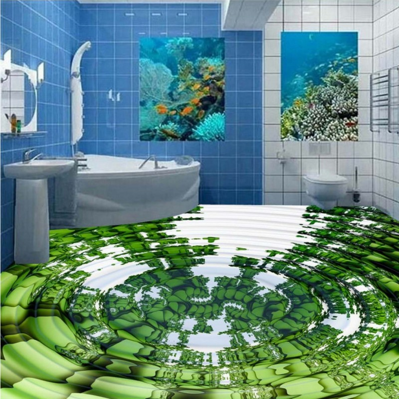 купить Free Shipping custom 3D stereo reflection water wave Affixed painting living room Self-adhesive floor wallpaper restaurant mural по цене 6953.13 рублей