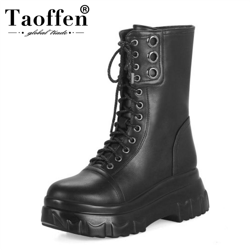 TAOFFEN Women Mid Calf Boots Winter Lace Up Warm Shoes Woman Round Toe Wedge Boots Fashion Platform Gothic Shoes Size 33 43