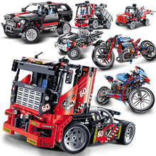 Decool Technic Truck car Cruiser harley motorcycle model building kit blocks children toys bricks compatible legoed Vehicle sets(China)